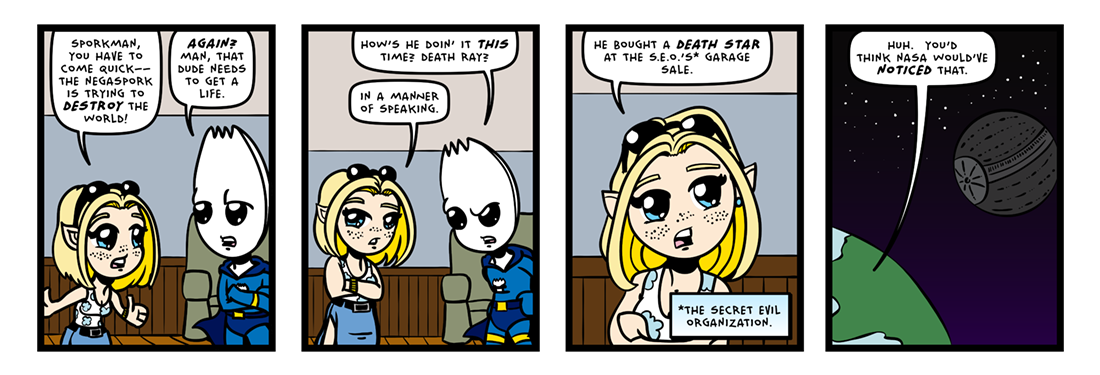The Inevitable Death of Sporkman! (01 of 07)  Comic Strip